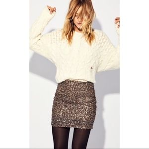 Free People   Mini Sequin Skirt Gold & Silver